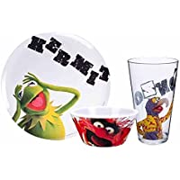 Muppets 3 Piece Plastic Dish Set includes Kermit Plate and Gonzo Bowl & Tumbler by MUPPET