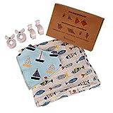 Baby Set Erstausstattung | Pucktuch Spucktuch 120x120 | Dreieckstuch Lätzchen | 4 Kinderwagen Klammern Clips | Perfektes Geschenk zur Geburt oder als Moltontuch Mullwindel für ihr eigenes Baby - Fisch