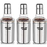Nirlon Stainless Steel Oil Dispenser Set, 3-Pieces, Silver (3 Unit Oil Pot 1000+1000+1000 ML)