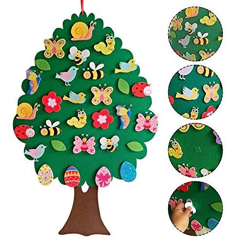 Recoverlove 2020 bambini pasqua kit fai-da-te in feltro, decorazione ad albero con ornamenti rimovibili, giochi set giocattolo per bambini regali pasquali decorazione della parete della porta di casa