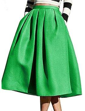 Mujer Faldas,Línea A Un Color Tiro Alto Casual/Diario Midi Elasticidad Poliéster Micro-elástica Otoño , m