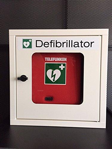 Für die Fertigung & das Büro: Telefunken Defibrillator HR1 (manuelle Schockauslösung) mit Vollausstattung und Metallwandkasten