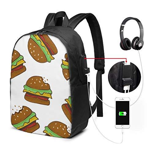 Delicious Food Hamburger Rucksack ist 17-Zoll mit USB-Anschluss für eine einfache und dauerhafte Nutzung -