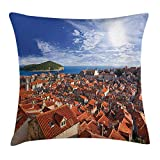 BUZRL European Throw Pillow Cushion Cover, Sunset of Dubrovnik City with The Island Mediterranean Culture Old Town Print, Decorative Square Accent Pillow Case, 18 X 18 inches, Multicolor