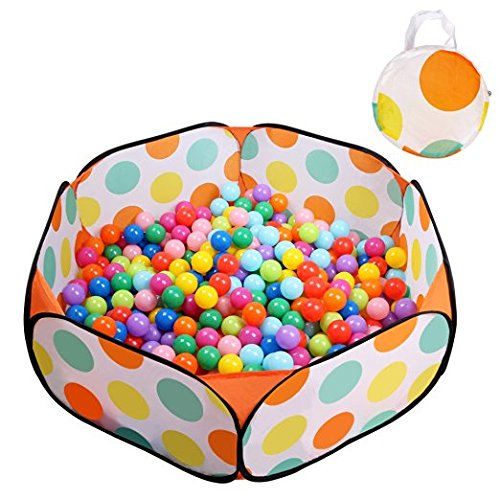 EocuSun Kids Ball Pit Playpen Ball Tent Toddler Ball Pit, 47.2-Inch with Zippered Storage Bag for Toddlers (orange)