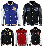 Blouson homme style USA baseball doublure molleton badges et manches cuir PU