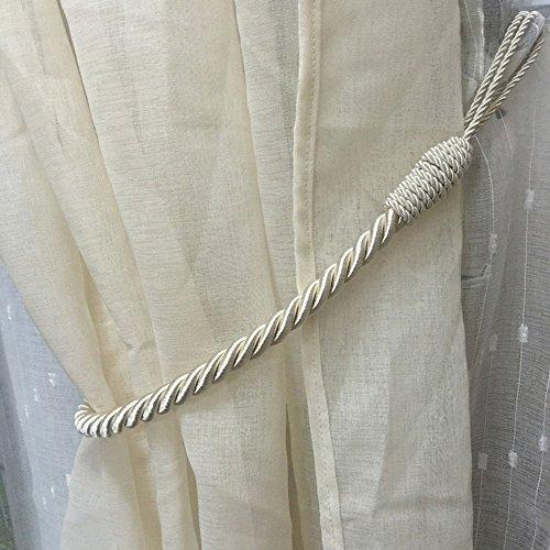 2 Stück Vorhang Gardinen Raffhalter Anhänger Vorhang Seil Vorhanghalter Zugband Holdback Baumwoll(Beige)