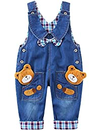 Bebé Niños Niñas Peto Vaquero Overalls Mono Largo Elegante Ajustable Con Animal Bear Patrón Pajarita
