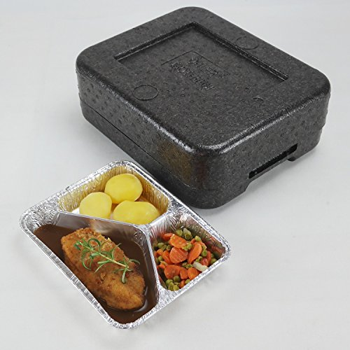 PIT1 Thermobox ✔ Styropor anthrazit ✔ Transportbehälter ✔ MENÜBOX für 1 Menü * Catering