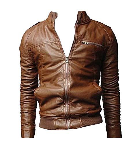 Runyue pu leather motociclista giacca in pelle biker colletto dritto casual moto uomo marrone l