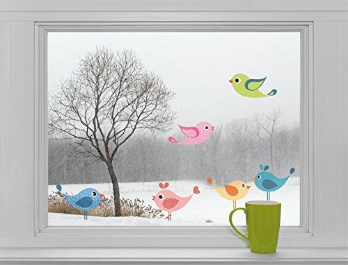 6 Vögel - Fenstersticker Sticker Aufkleber Fensterbild F024