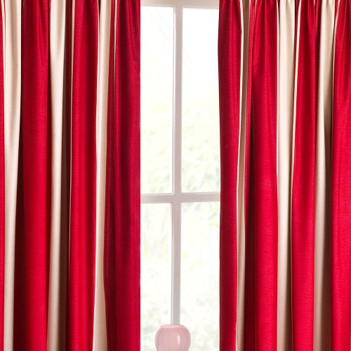 TWILIGHT STRIPED PRINT TWO-TONE RED / NATURAL / CREAM 46″X72″ CURTAINS THERMAL BACKED CURTAINS (117CM WIDE X 183CM DROP) APPROX READY MADE NEXT SEMI BLACKOUT CURTAINS / BLOCKOUT CURTAINS HEADER TAPE
