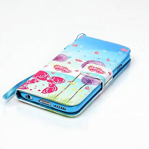 Meet de Apple iPhone 6 6S (4,7 Zoll) Bookstyle Étui Housse étui coque Case Cover smart flip cuir Case à rabat Apple iPhone 6 6S (4,7 Zoll) Coque de protection Portefeuille - éléphant ethnique Lovers