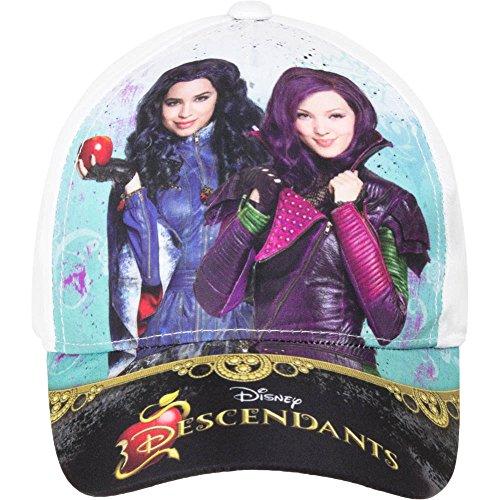 Descendants Disney - Cappello con Visiera Chiusura Regolabile - Mal e Evie - Bambina - Prodotto Originale EP4268 [Bianco - 52 cm]