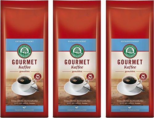 Lebensbaum Bio Gourmet Kaffee, entkoffeiniert, gemahlen, 3er Pack (3 x 250 g) 250 g