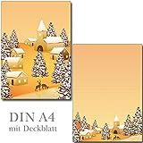 Lot de 2blocs d'écriture Village d'hiver 25feuilles format DIN A4avec couverture 7350–2