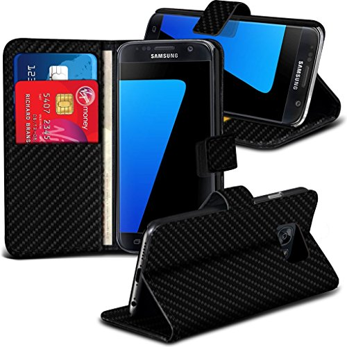 Gadget Giant® Microsoft Lumia 650 Kohlefaser Carbon Fiber Case Buch-Stil Handy Hülle mit Displayschutz-Folie Screen Protector & Eingabestift Stylus Pen & Gadget Giant® One Touch Stand -