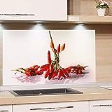 GRAZDesign Küchenrückwand Glas-Bild Spritzschutz Küche Herd Küche Edler Kunstdruck hinter Glas | Bild-Motiv Chili | Eyecatcher für Zuhause / 60x40cm