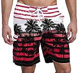 SHEKINI Bañadores de Playa para Hombre Secado Rápido Pantalones de Natación con Estampado Ajustable Transpirable para Surferos Bañador con Bolsillo para Playa Piscina (30, Rojo)