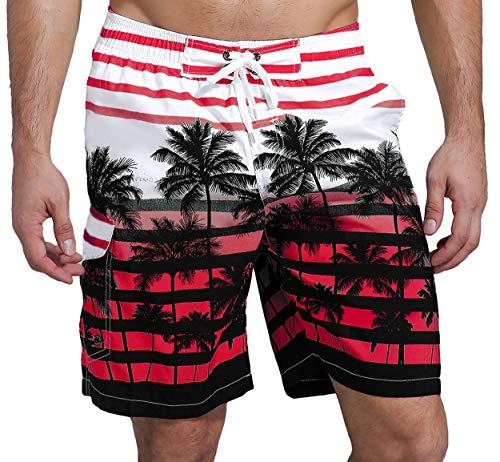 SHEKINI Herren Sommer Badeshorts Hawaii Kokospalme Blumenmuster Badehose mit 3 Taschen Innenslip Schnelltrocknend Strandshorts (36, Rot)