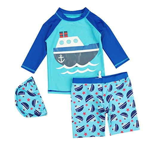 UGUAX Kids Baby Two Piece Rash Guard Swimsuit Long Sleeve Swimwear Sun Protection Bathing Suit with Swim Cap
