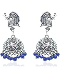 180a2b7ec Pushpavalli Fashions Designer Antique Finish Oxidized German silver Plated  Jhumka Jhumki Blue -color Pearl Earrings