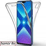 AURSTORE Coque 360 Degré Huawei Honor 8X – Protection intégrale Avant + Arrière en Rigide, Housse Etui Pochette Tactile Protection 360 degré – Antichoc, Transparent 8X (Honor 8X, Transparent)