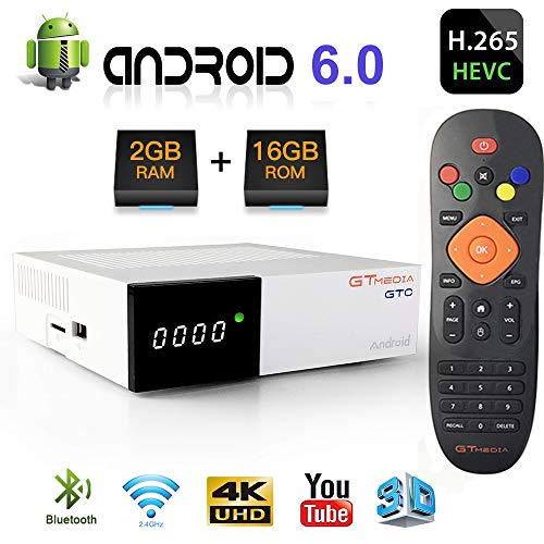 GT Media GTC Android 6.0 TV Box + DVB-S2/T2/Kabel/ISDBT Digital TV Satellitenempfänger Decoder TDT, Amlogic S905D【2GB+16GB】, 4K/H.265/MPEG-4 WiFi 2.4G, kompatibel mit Cccam, YouTube, IPTV Kabel-tv-box