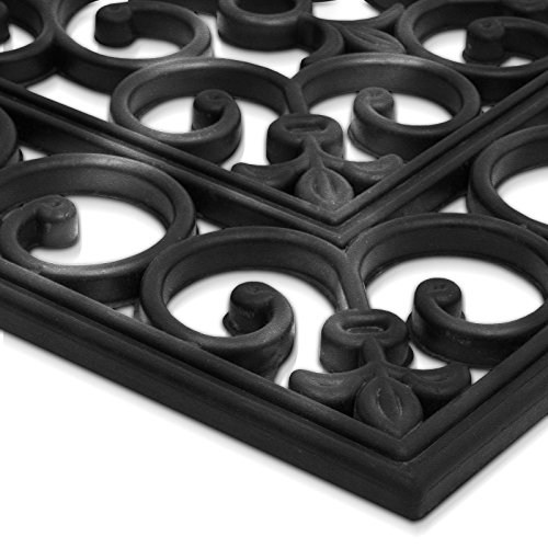 casa pura® Colombo Rubber Stair Treads 25x75cm - Non-Slip - Water Resistant - Set of 5 - Black