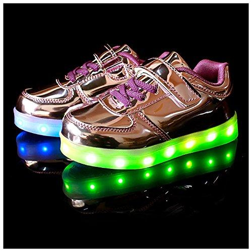 M&A Jungen/Mädchen LED Leuchtend Sportschuhe Sneaker Turnschuhe Violett