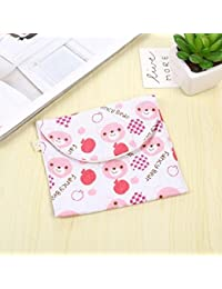 Designeez Girl's Sanitary Napkin Storage Bag Cute Cartoon Cotton Linen Sanitary Pad Towel Menstrual Sanitary Aunt...
