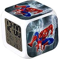 CLXYA Spiderman Relojes despertadoresColorido Personaje de Dibujos LED Despertador 3D Viaje Despertador- Regalo para niños