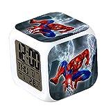 CLXYA Spiderman Relojes despertadoresColorido Personaje de Dibujos LED Despertador 3D Viaje Despertador- Regalo para niños,001