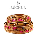 Michur Pinklady beige leather dog collar with...