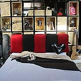 Bettrücken/Kopfteilkissen Einfache Moderne weiche Kissen Schwammfüllung Streifen doppelseitig, 8 Farben, 6 Größen erhältlich (Farbe : Red+Black, größe : 200 x 50cm)