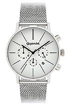 Gigandet MINIMALISM Herren Quarz Chronograph - Armbanduhr mit analoger Anzeige - 30m/3atm wasserdicht mit Datumsanzeige, silbernem Edelstahlarmband und silber-/weißem Zifferblatt - G32-005