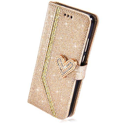 Herbests Kompatibel mit Huawei Mate 10 Lite Hülle Leder Handyhülle Glitzer Bling Sparkle Mädchen Brieftasche Hülle Flip Case Tasche Strass Diamant Wallet Handytasche Schutzhülle,Gold