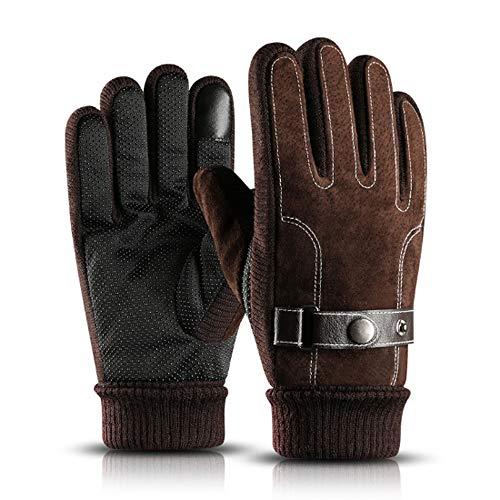 SKLLA Handschuhe Herren Winter Reiten Schweinsleder Handschuhe Warm Motorrad Verdickung Plus Velvet Fahrradhandschuhe,Brown -