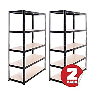 Garage Shelving Units: 180cm x 120cm x 45cm | Heavy Duty Racking Shelves for Storage - 2 Bay, Black 5 Tier (175KG Per Shelf), 875KG Capacity | For Workshop, Shed, Office | 5 Year Warranty