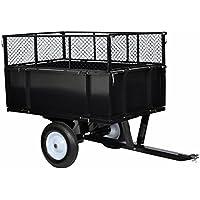 Chariot jardin/remorque à main en métal noir attache universelle hauteur extensible 2 roues 300 kg de charge
