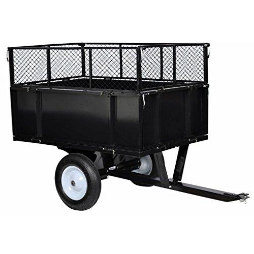 vidaXL Chariot jardin/remorque à main en métal noir attache universelle hauteur extensible 2 roues 300 kg de charge