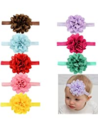Navya Fashions Jumbo Pack (6 Pieces) Multicolor Satin Baby Head Bands Designer Edition (Premium Quality)