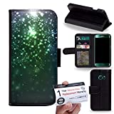 Case88 [Samsung Galaxy S6 Edge] PU LEDER Hülle Lederhülle Handyhülle Flip Case - Art Fashion Emerald Green Particle 1571