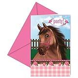 12-teiliges Einladungskarten-Set * BRAUNES PFERD * für Geburtstagsfeier oder Motto-Party