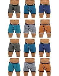 Tom Franks Mens Cotton Striped Boxershort Trunk (Pack of 12)