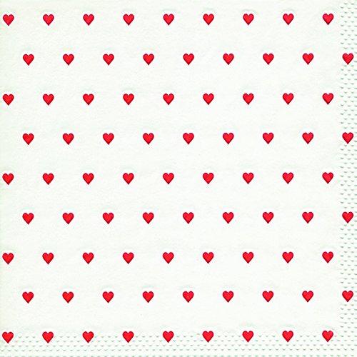 16 Serviette Kleine Herzen rot 33x33 cm, geprägt, 3-lagig - 3 Rote Herzen