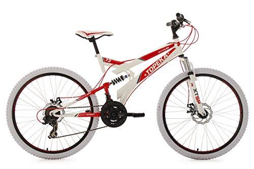 KS Cycling Uni Mountainbike Fully Topeka Fahrrad, Weiß-Rot, 26