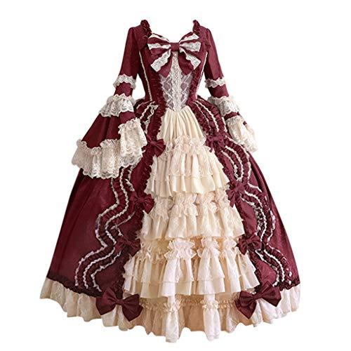 Schnee Königin Kleid Und Cape - ZHANSANFM Damen Langarm Mittelalter Party Viktorianischen