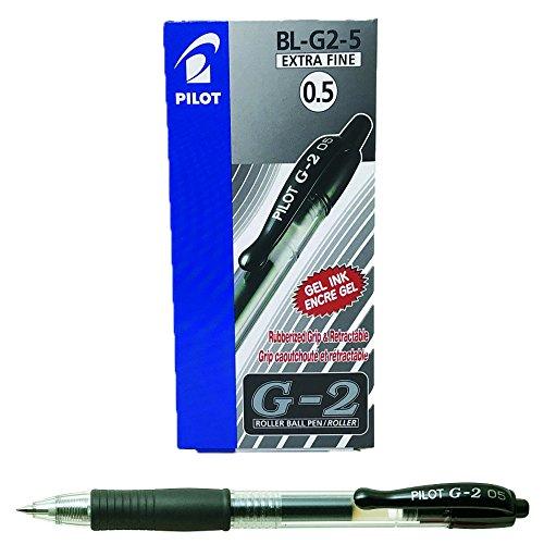 Pilot G205 Druck-Gelschreiber mit Gummi-Griffzone 0,5 mm Schreibspitze 0,3 mm Strichbreite 12 Stück schwarz