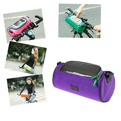 switty Fahrrad Lenkertasche, vorne Top Frame Tube Touchscreen Handy Tragetasche Radfahren im Freien Navigation Halterung Wasserdicht Gepäckträgertasche mit abnehmbarer Schultergurt (lila)